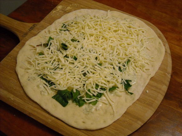 Homemade white pizza before baking.
