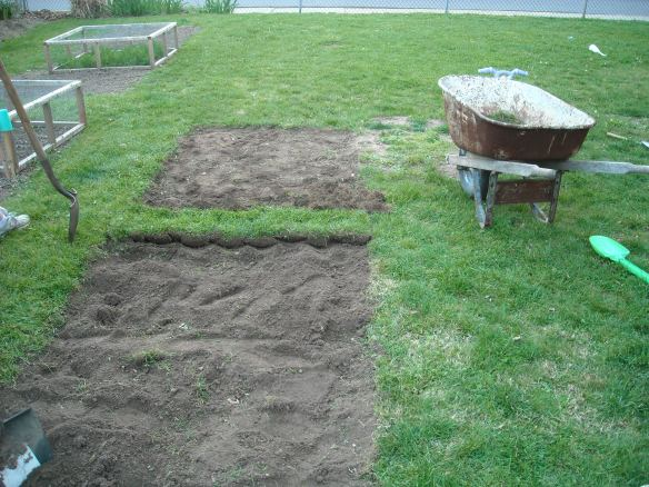 The process of creating a new garden plot.