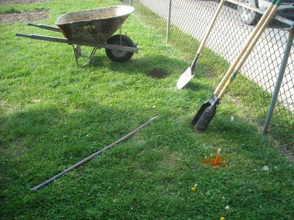 Tools used for digging the post holes.