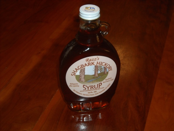 A bottle of shagbark hickory syrup.