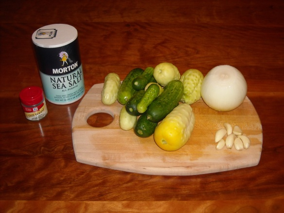 Ingredients for refrigerator pickles.