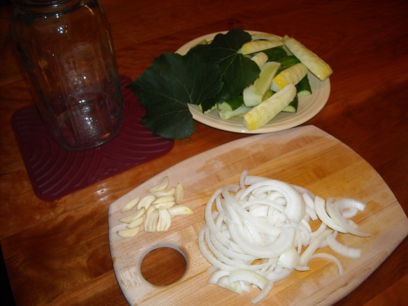 Ingredients cut for refrigerator pickles.