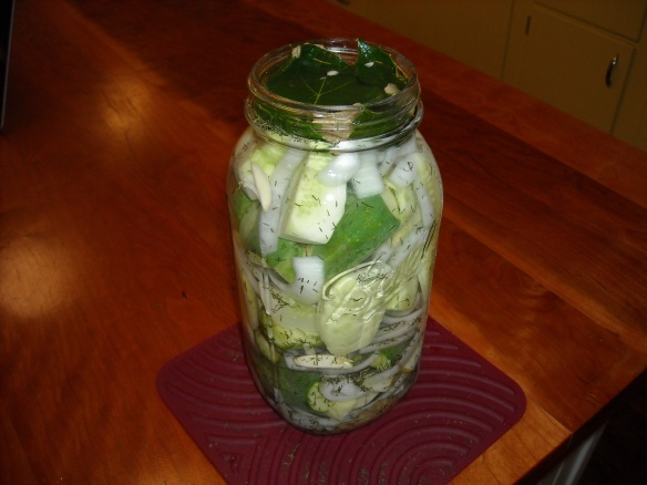 A big jar of refrigerator pickles.