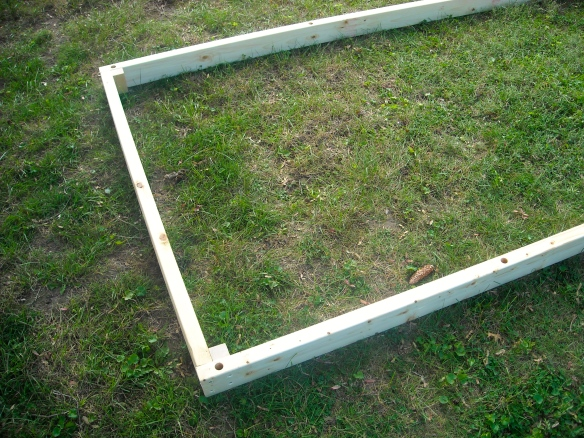 The wooden frame assembled.